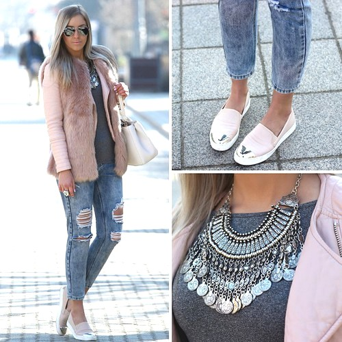 blush jacket outfit idea