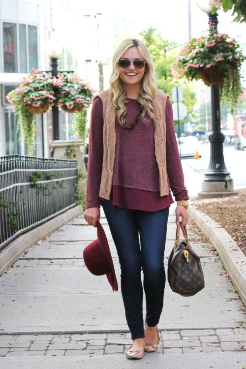 burgandy-sweater-with-fur-vest
