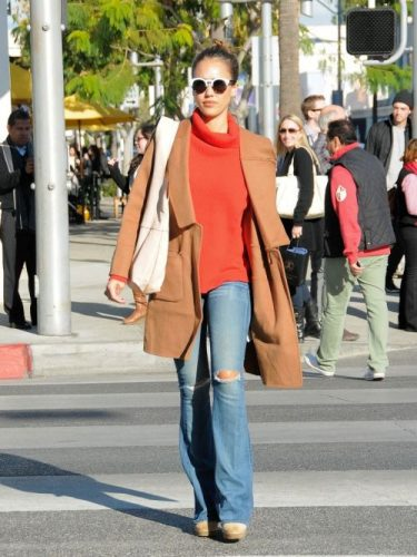 cognac-jacket-orange-sweater-outfit