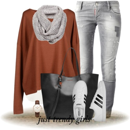 cognac-sweater-adidas-shoes-outfit