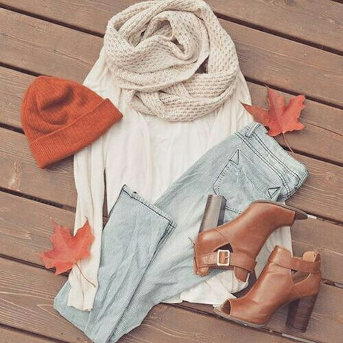 fall scarf outfit idea