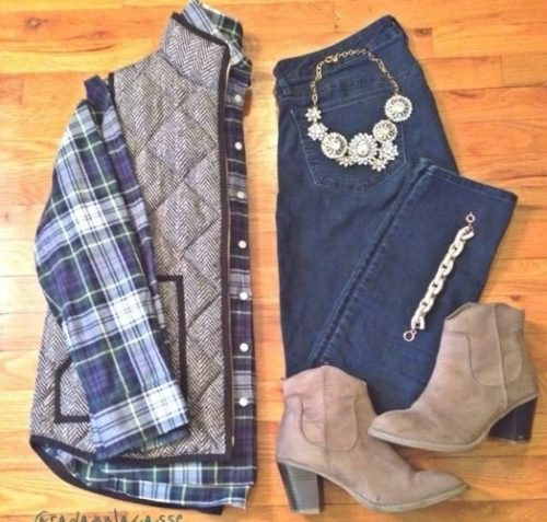 flannel jcrew vest fall outfit