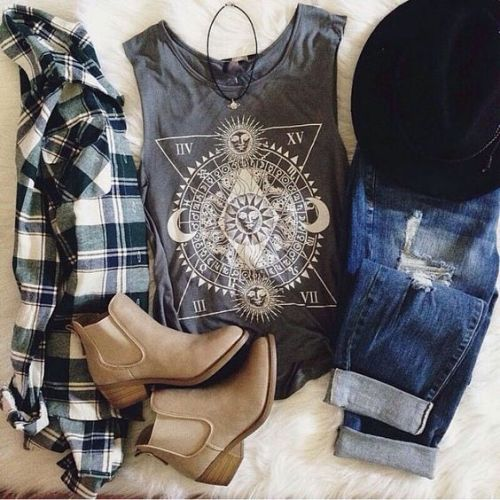 flannel tank top bootie