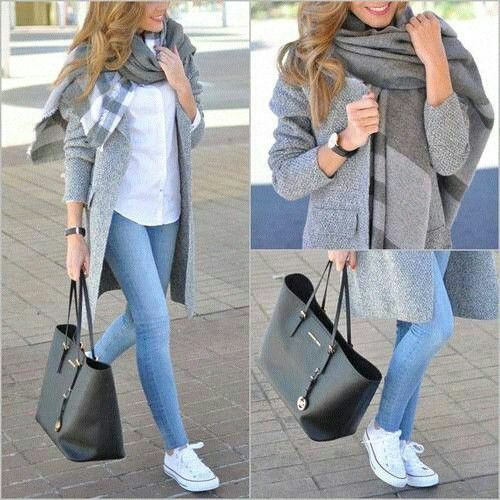 grey jacket outfit