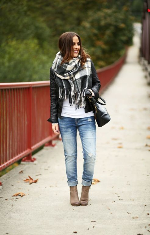 leather-jacket-with-plaid-black-and-white-scarf