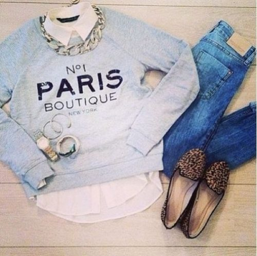 light blue sweatshirt flat shoes