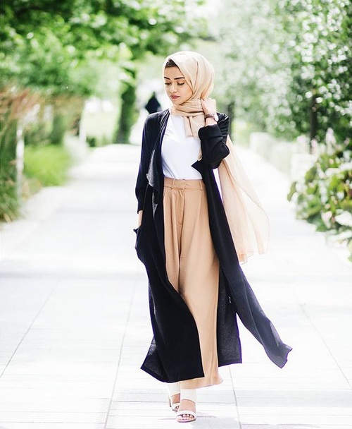 long cardigan wide pants