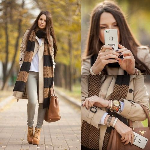 long scarf neutral outfit