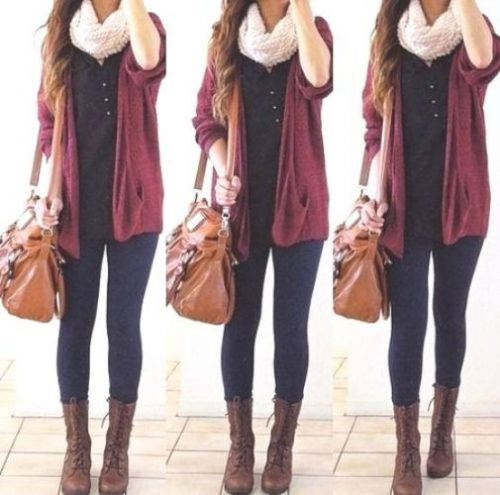maroon-cardigan-iory-knit-scarf-outfit