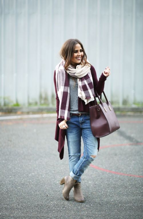 maroon-jacket-with-plaid-scarf-outfit