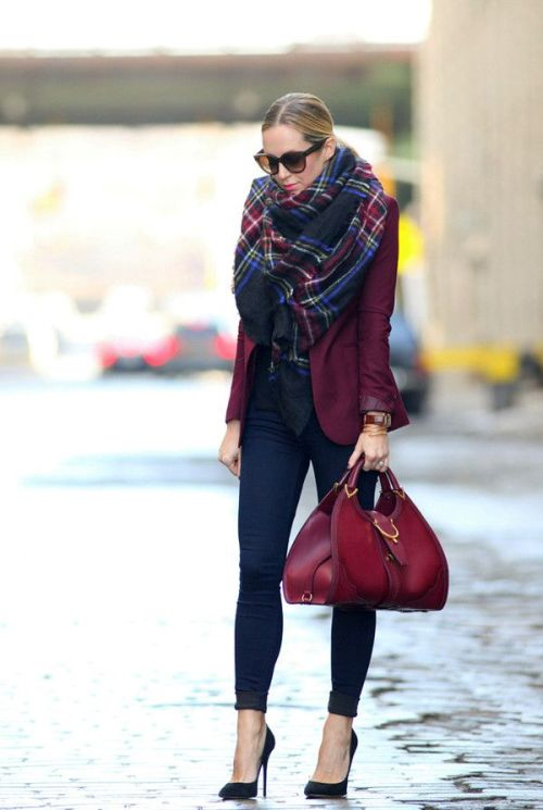maroon-jacket-with-plaid-scarf