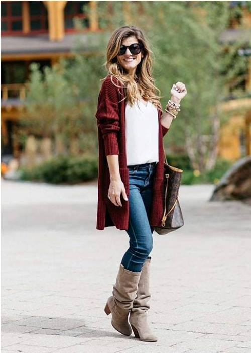 d1899a8eb8f ... fashionable and chic with just some simple tricks. Enjoy the styling  ideas and have a warm and comfortable fall season. maroon-sweater -grey-scarf-outfit