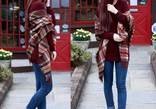 How to rock the plaid blanket scarf