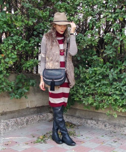 maroon-striped-sweater-dress-outfit