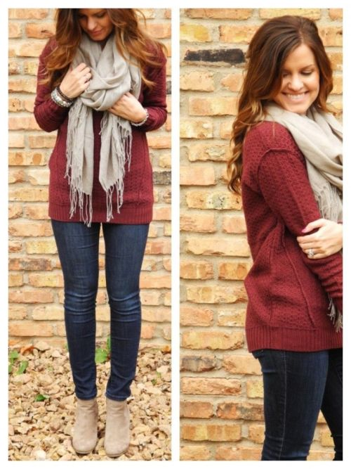 maroon-sweater-grey-scarf-outfit