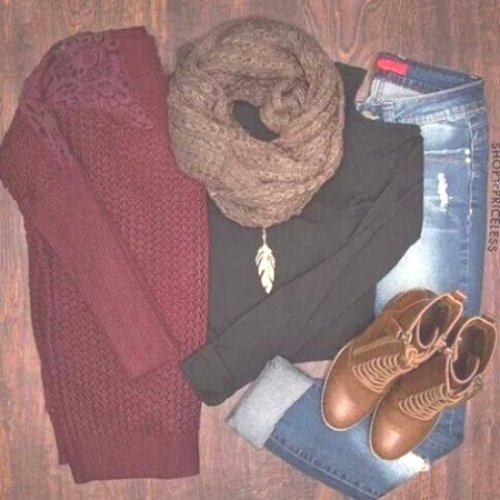 maroon sweater outfit idea