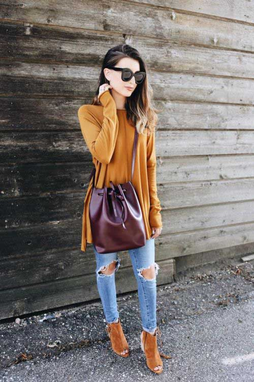 mustard sweater with jeans