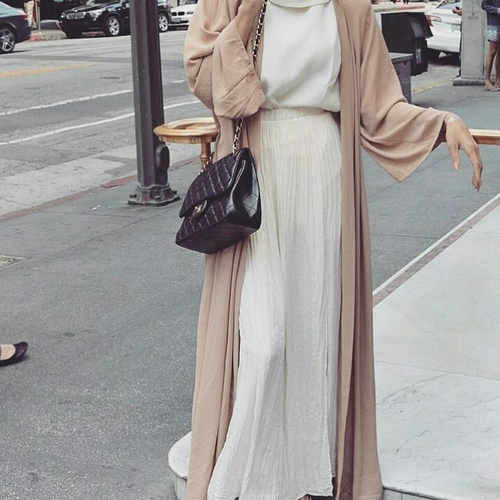 neutral open abaya