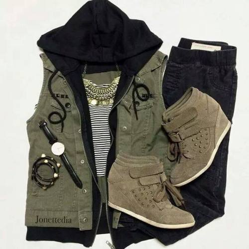 olive puffy vest outfit