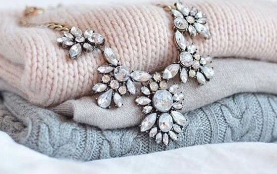 Statement necklaces with cozy sweaters