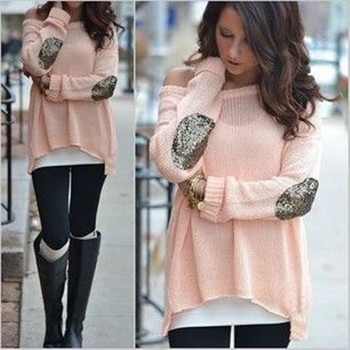 peach sweater outfit