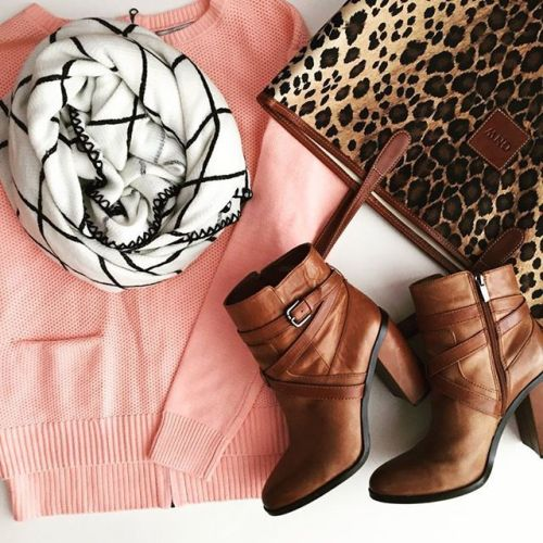 peach sweater tan bootie leo scarf outfit