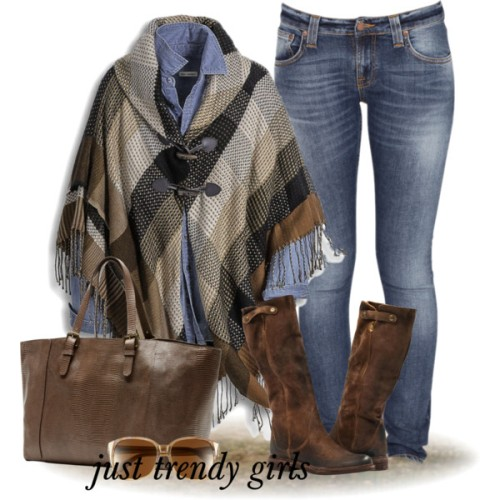 plaid-poncho-with-denim-shirt