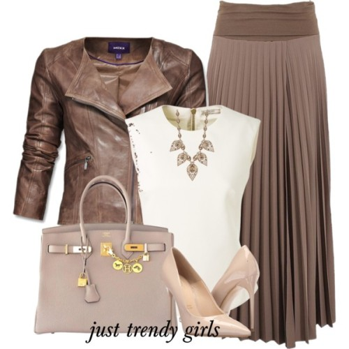 pleated-mocha-skirt-jacket-outfit
