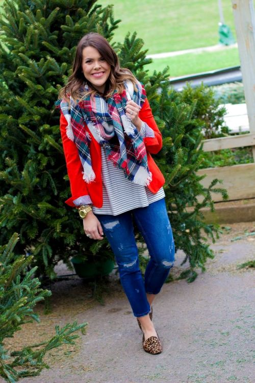 red-blazer-with-plaid-scarf
