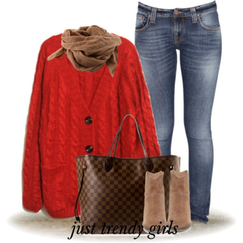 red-knit-cardigan-louis-vuitton-bag