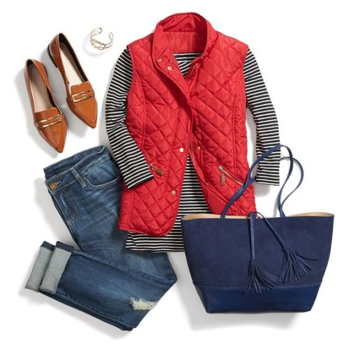 red puffer vest fall fashion