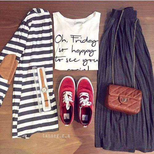 striped jacket skirt outfit