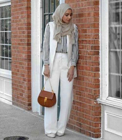 striped-shirt-white-vest-palazzo-pants-hijab