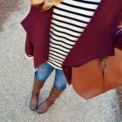 striped-tee-with-burbundy-cardigan