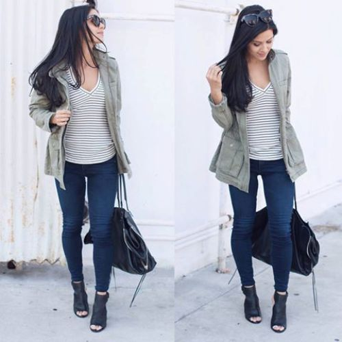 striped tee with cargo jacket