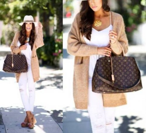 tan knit cardigan white pants outfit
