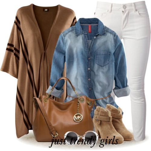 tan-poncho-denim-shirt-outfit