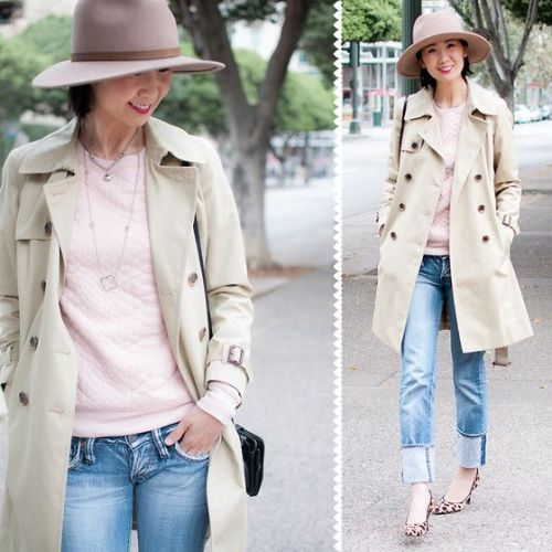trench jacket pastel outfit