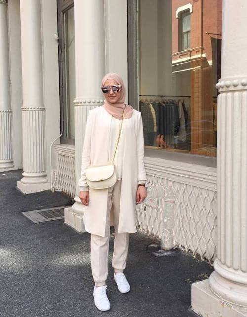 white creamy hijab fashion
