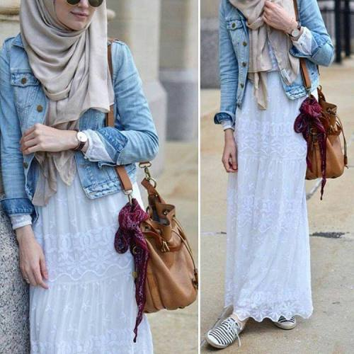white lace skirt hijab look