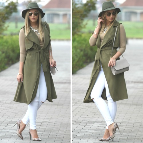 white pants with trench vest,