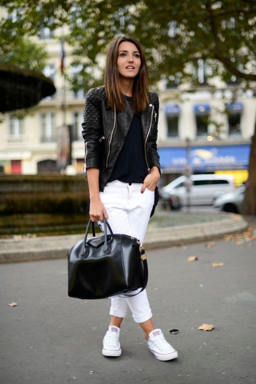 black-leather-jacket-white-pants