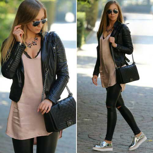 black-leather-jacket-with-beige-tunic