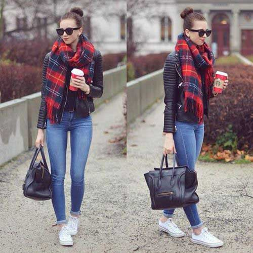black-leather-jacket-with-red-plaid-scarf