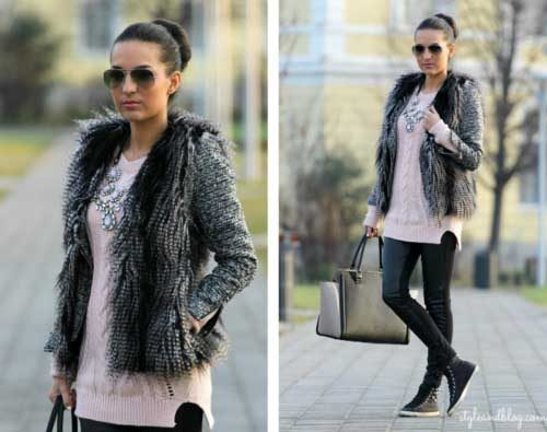 grey-fur-vest-with-pink-sweater-outfit