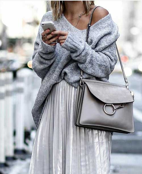 grey-outfit-knit-sweater-with-pleated-skirt