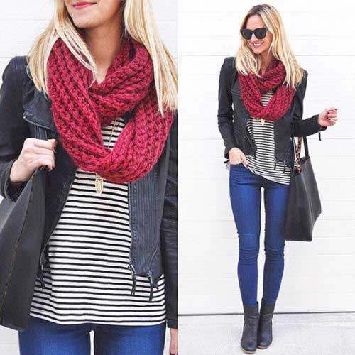 knit-red-scarf-with-striped-tee-outfit