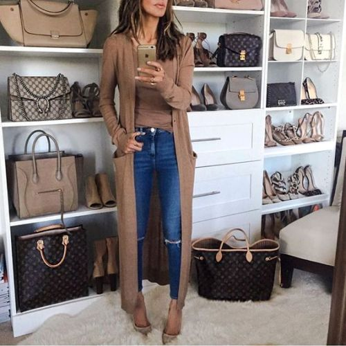 long-tan-cardigan-outfit
