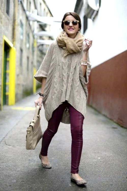 maroon-pants-with-chunky-sweater