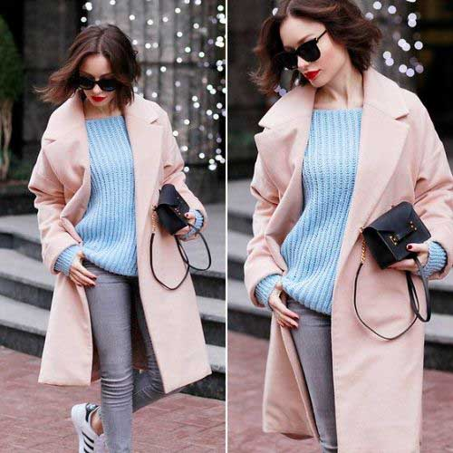 pink-coat-with-knit-blue-sweater